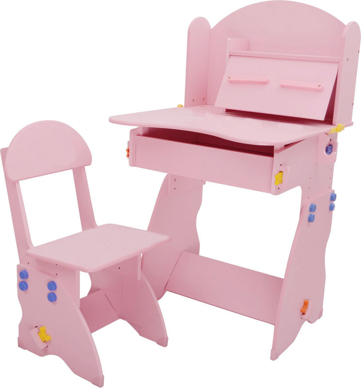 18.3KG Pink Solid Wooden Children'S Desk And Chair Set With Hidden Drawer