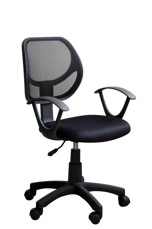 Black Fabric Ergonomic Home Office Computer Chair With Mesh Back / Wheels
